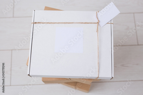 Many boxes with space for advertisement delivered from online store Canvas Print