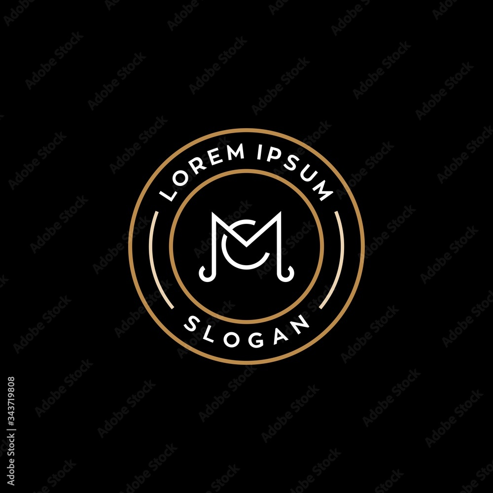 Fototapeta MC M C CM logo logotype icon design , badge logo with monogram line linear outline icon suitable for business brand or lawfirm
