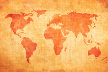 Grunge Map Of The World On An Ancient Vintage Sheet Of Paper