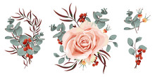 Set Of Vector Floral Bouquets....