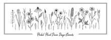 Set Of Hand Drawn Meadow Flowers Isolated On White. Vector Illustration In Sketch Style
