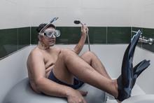 Adult Man Pretending To Swim I...