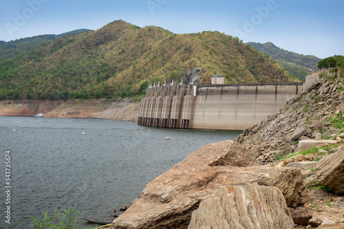 Fényképezés Image of view of bhumibol dam in tak Thailand