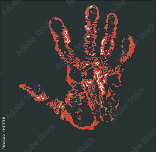Fototapety, obrazy: hand palm and fingerprint print embroidery graphic design vector art