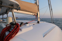 Sailing Yacht, Catamaran, Participation In The Regatta, Wind In The Sails, The Bow Of The Ship. The Concept Of Development Of Sailing, Recreation Under Sail, Training In Yachting.