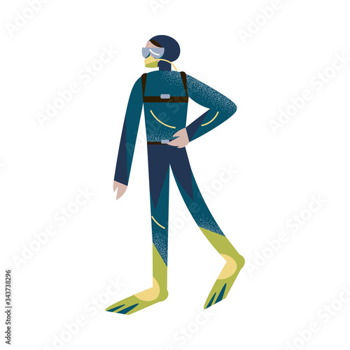 Scuba diver standing with one hand on the belt in wetsuit, flippers, and aqualung Wallpaper Mural