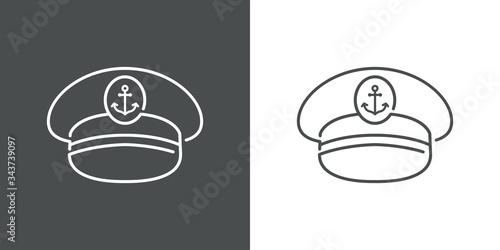 Símbolo naútico. Icono plano lineal sombrero de capitán de barco en fondo gris y fondo blanco