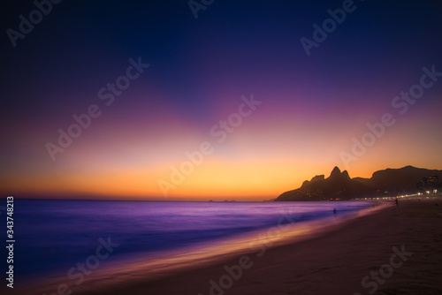 sunset at Ipanema beach, Rio de Janeiro Canvas Print