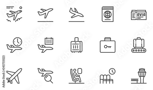Photo Airport Vector Line Icons