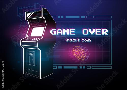 Photo Neon illustration of Arcade game machine
