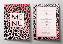 Design Restaurant Menu Template With Animal Print (leopard). Stylish Black And Gold Frame Pattern (border). Elegant Cover Useful For Creative Cafe Menu, Brochure, Wedding Invitation Design