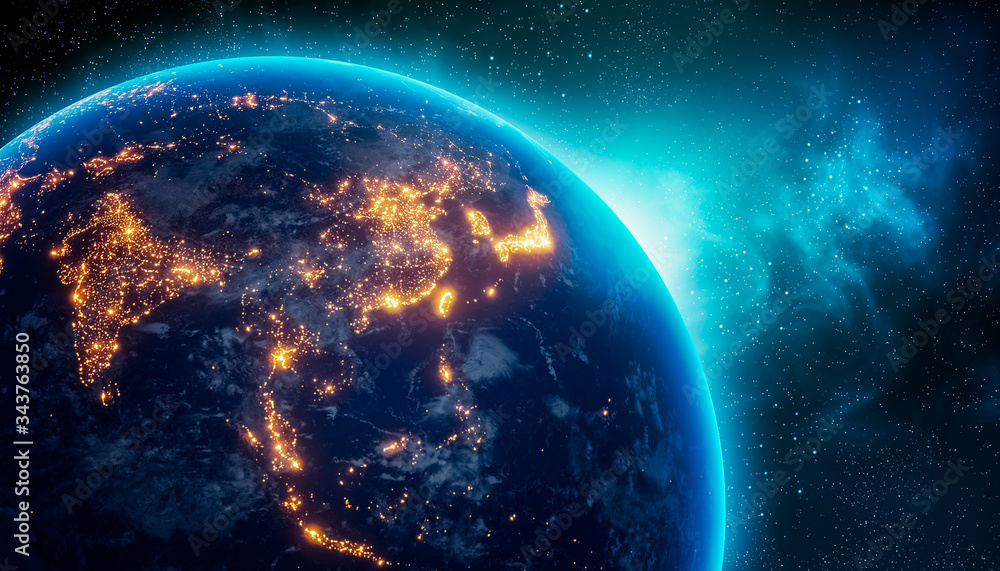 Fototapeta City lights of Central and East Asia continent at night from outer space. 3D rendering illustration. Earth map texture provided by Nasa. Energy consumption, electricty, power supply, ecology concepts.