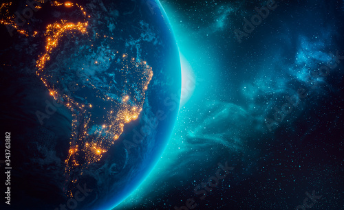 Valokuva City lights of South America continent at night from outer space 3D rendering illustration