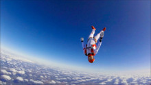 Aggressive. Skydiving Is For Special People. Beautiful Views From The Height Of Bird Flight. The Sky Without Borders.