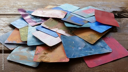 Photo Stack Of Artsy Cards On Wooden Floor