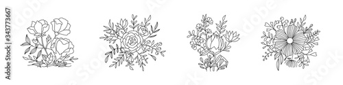 Floral pastel color vector bouquet with rose, peony, anemone, sakura, wild flowers Canvas-taulu