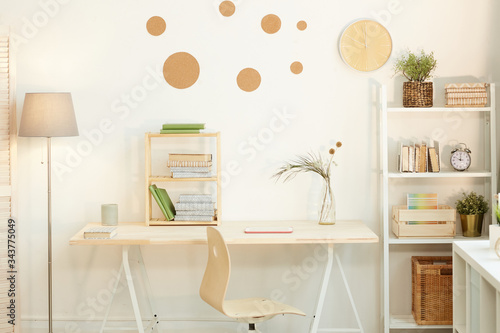 Horizontal no people shot of minimalistic workspace interior in room belonging t Canvas Print