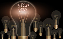 Writing Note Showing Stop Debt...