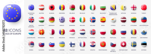 Photo Realistic 3d glossy icons of european countries, european flags