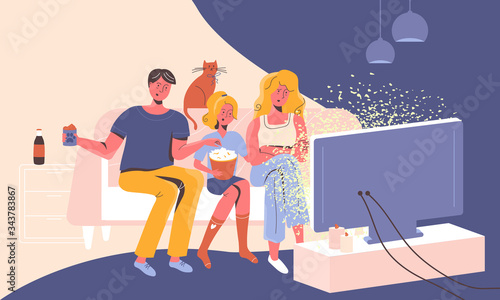 Fotografija Family at home on a sofa watching news on TV feeling shocked, stressed and confused by manipulative stories