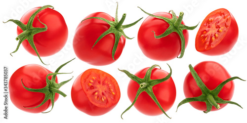 Cherry tomato isolated on white background with clipping path