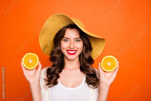 Portrait of trendy wavy white cheerful charming casual cap headwear pretty cute Canvas Print