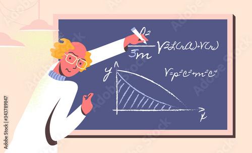 Wicked scientist manipulating with data and formulas on chalk board Slika na platnu