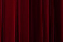 Theatrical Dark Red Velvet Curtain. Texture Background For Design.