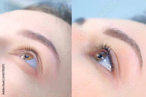Fototapeta Face of young woman before and after lash laminating and painting eyebrows, side view