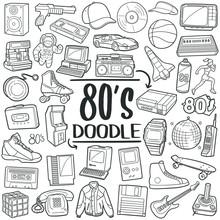 80's, Eighties Years Doodle Ic...