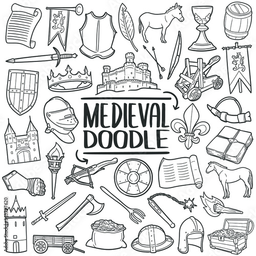 Vászonkép Medieval doodle icon set