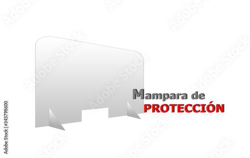 Mampara transparente de protección aislada sobre fondo blanco Canvas Print