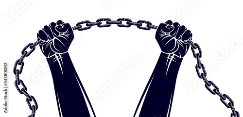 Fotografía Strong hand clenched fist fighting for freedom against chain slavery theme illustration, vector logo or tattoo, getting free, struggle for liberty