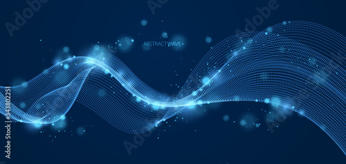 Wave line of flowing particles over dark abstract vector background, smooth curvy shape shining dots fluid array. 3d dots blended mesh, future technology relaxing wallpaper.