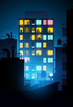 A Large Block Of Apartments With People Inside Looking Out Of The Windows At Night. Vector Illustration.