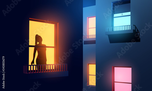 Fototapeta A women silhouetted looking out of her illuminated apartment window at night during Covid-19 lockdown. self-isolation and lockdown due to coronavirus. Vector illustration obraz