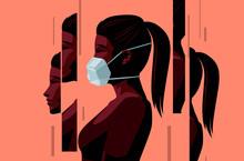 A Women Wearing A Face Mask Du...
