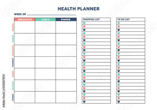 Fotografia Health planner for diary, organiser, notebook