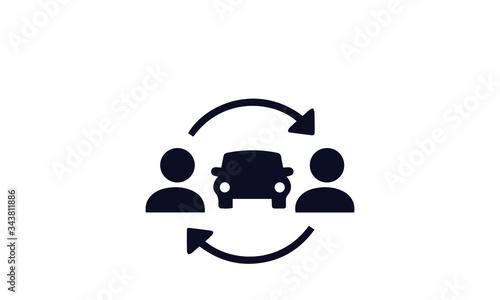 Obraz Ridesharing and Carpooling Icons vector design  - fototapety do salonu