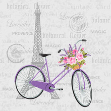 Violet Bicycle With A Basket Full Of Flowers. Vintage Postcard Background With Eiffel Tower. Vector Illustration