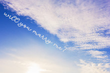 Sky Clouds With The Question Will You Marry Me
