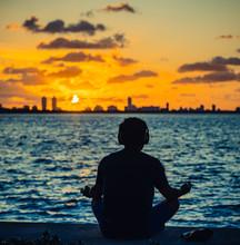 Man Meditating Meditation Sunr...