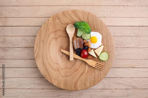 Fototapeta Intermittent fasting. Healthy breakfast, diet food concept. Organic meal. Fat loss concept. Weight loss. obraz