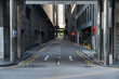 """Quiet Singapore street with less tourists and cars during the city lockdown called""""Circuit Breaker""""."""