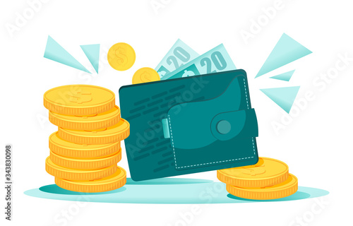 Bundles of money falling to the wallet with dollars Canvas-taulu