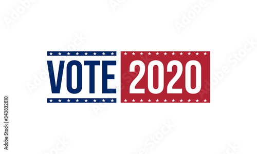 Cuadros en Lienzo vote 2020 in blue and red colors, vector illustration