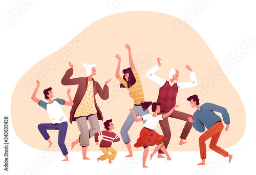 Big family dancing together Canvas-taulu