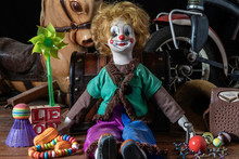 Old Forgotten Toys In The Attic Including Doll Hobby Horse Tricycle And Transistor Radio