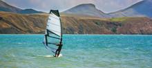 Skiing Windsurfing In The Ocea...