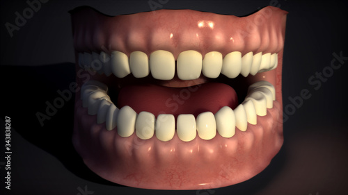Photo 3d rendering of human teeth isolated on black
